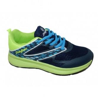 Deportivas cierre cordones en color Azul combinado con Pistacho. j´hayber