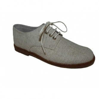 Zapatos de piel y textíl color Beige.Cierre cordones.BUBBLE