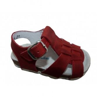 Sandalias de piel Nobuck color Rojo.Barritos