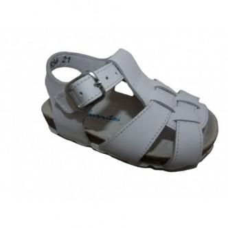 Sandalias de piel color Blanco.Barritos
