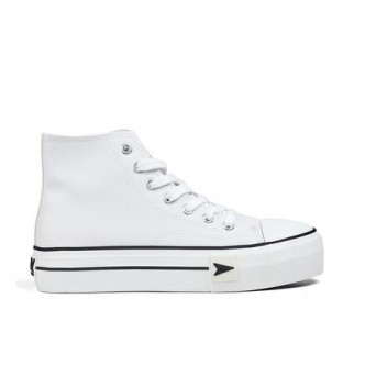 Sneakers Bay High Top Plataforma napa Blanco. B&W