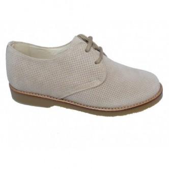 Zapato piel serraje color Taupe. Cierre cordones. ANDANINES