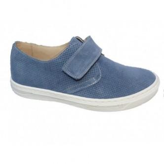 Zapato piel serraje color Ocaso Azul. Cierre velcro. ANDANINES