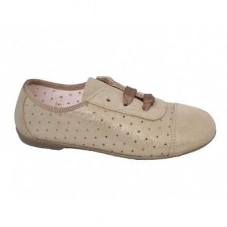 Zapato blucher serraje color Bronce. Efecto purpurina.Cierre cordones. QUECOS