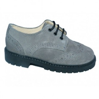 Zapatos Blucher piel serraje en color gris. QUECOS