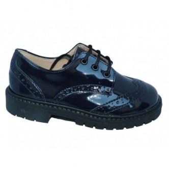 Zapatos Blucher piel charol en color Azul Marino. QUECOS