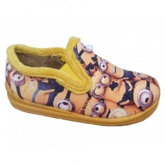 Zapatillas de casa en color amarillo,dibujo de Minions