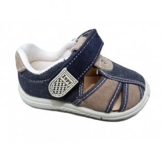 Sandalias de lona en color Marino combinado con Taupe. ZAPY