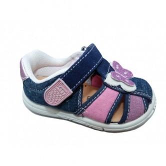 Sandalias de lona en color Tejano combinado con Malva y Plata. ZAPY