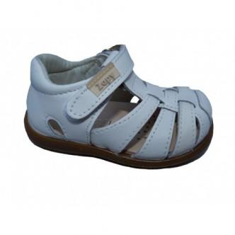Sandalias de  Piel en Color Blanco.Cierre velcro. Zapy.