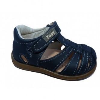 Sandalias de  Piel en Color Azul Marino.Cierre velcro. Zapy.