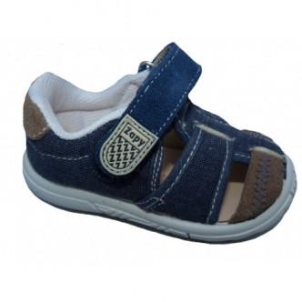 Sandalias de lona en color Jeans combinado con Piedra. ZAPY