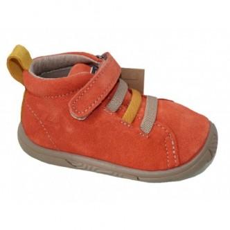 Botas de piel serraje en color Teja combinado con Mostaza.Zapy