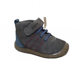 Botas de piel serraje en color Gris combinado con Azul.Zapy
