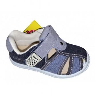 Sandalias de lona en color Piedra combinado con Tejano. ZAPY
