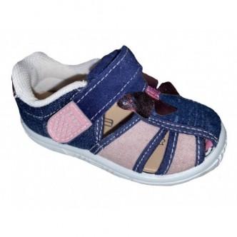 Sandalias de lona en color Tejano combinado con Rosa. ZAPY