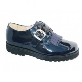 Zapatos blucher piel charol Color Azul Marino. ANDANINES