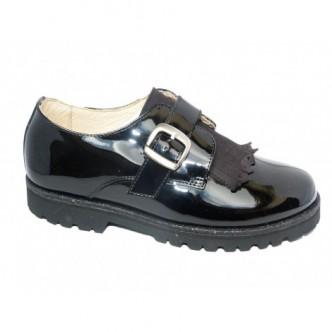 Zapatos blucher piel charol Color Negro. ANDANINES