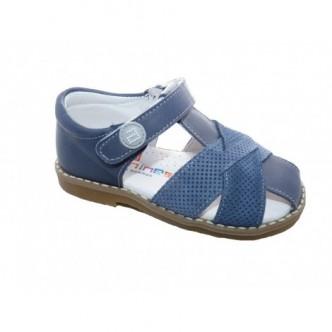 Sandalias de  Piel en Color Jeans.Cierre velcro. ANDANINES.