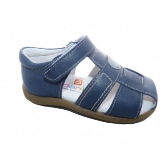 Sandalias de  Piel en Color Simba Jeans.Cierre velcro. ANDANINES.