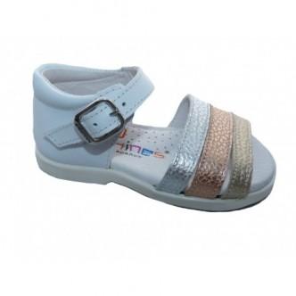Sandalias de piel en color Blanco. ANDANINES.