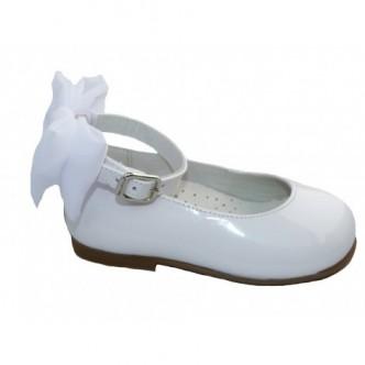 Bailarinas de piel charol en color Blanco. ANDANINES.
