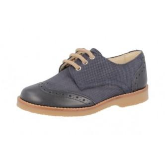 Zapatos piel ante color Azul Marino. ANDANINES