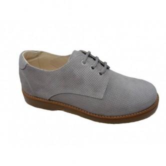 Zapatos piel ante color Dijon Chaira Gris. ANDANINES