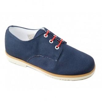 Zapatos de piel combinado con lino en color Marino.QUECOS