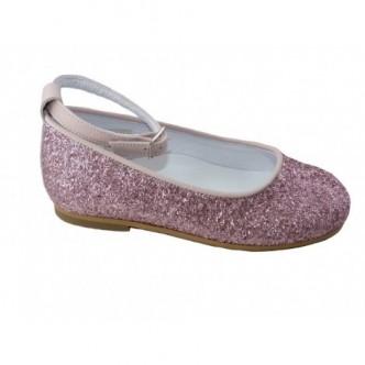 Bailarinas de piel con glitter color Rosa.QUECOS