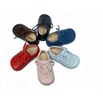 Zapato ingles piel. Color rosa, rojo, azul marino, marrón chocolate, azulón o celeste. QUECOS