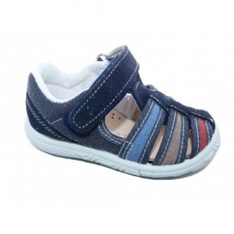Sandalias de lona en color Marino combinado con Rojo,Marrón y Azul. QUECOS