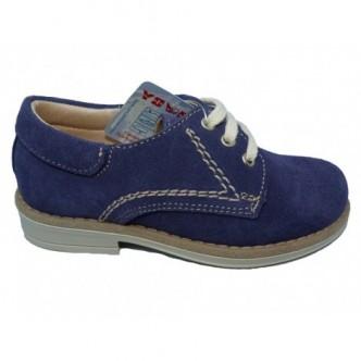 Zapatos piel ante en color azul navy. Cierre cordones.YOWAS.