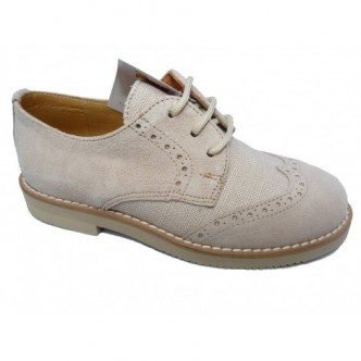 Zapatos piel ante color Beige. Dibujo ingles. Cierre cordones.YOWAS.