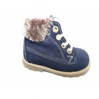 Botas de piel nobuck en color Azul Marino.Forradas de borreguito.YOWAS.