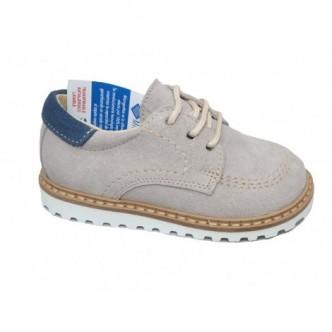Zapatos de piel afelpado en color Gris Perla.YOWAS.