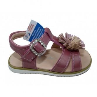 Sandalias de piel charol en color Chicle. Paulin Yowas